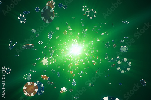 Obraz na plátne  Flying casino chips in camera with rays of light on a colorful background 3d ill