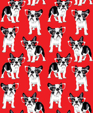 Seamless Pattern With Cartoon French Bulldog In A Glasses On A Red Background. Vector Illustration.