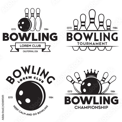 Fotografie, Obraz Set of vector vintage monochrome style bowling logo, icons and symbol