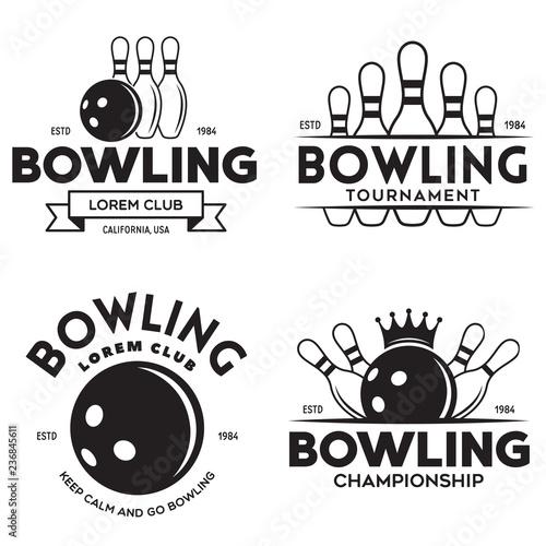 Fotografia Set of vector vintage monochrome style bowling logo, icons and symbol