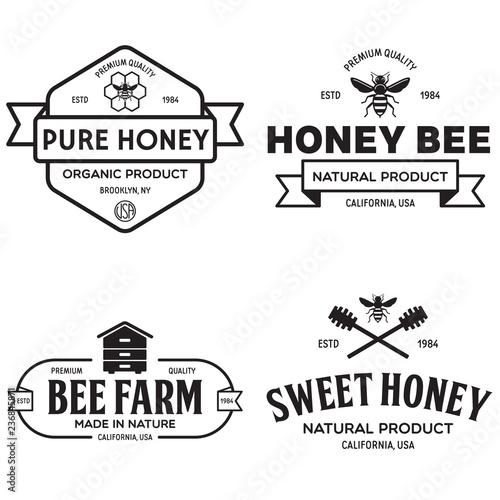 Vector Honey Vintage Logo And Icons For Honey Products