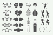 Set Of Vintage Retro Boxing And Fighting Elements. Can Be Used For Logo, Emblem, Badge, Mark Or Label. Vector Illustration.