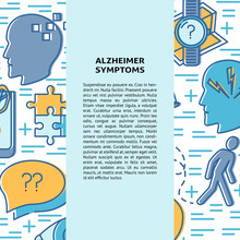 Alzheimer's Disease Concept Banner Template In Line Style
