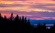 The Sunset From The Top Of Cadillac Mountain In Acadia National Park In Maine.