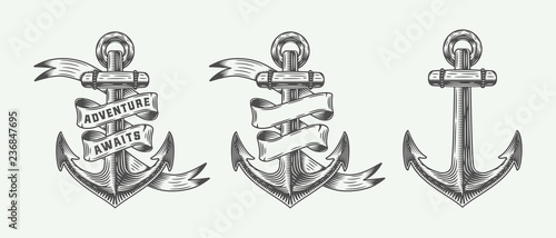 Cuadros en Lienzo Set of vintage retro anchors in retro style with adventures typography