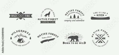 Foto Set of vintage camping outdoor and adventure logos, badges, labels, emblems, marks and design elements