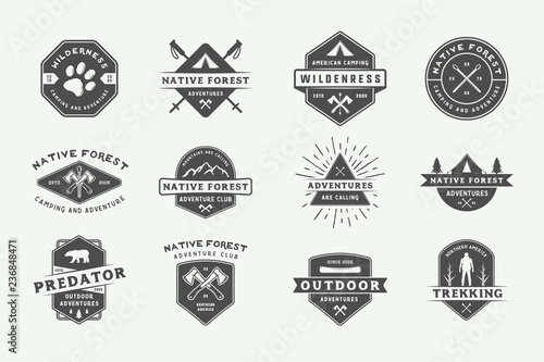 Cuadros en Lienzo  Set of vintage camping outdoor and adventure logos, badges, labels, emblems, marks and design elements