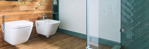 Cozy and mediterranean style bathroom in warm colours and natural wood Wallpaper Mural