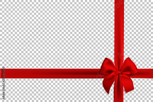 Leinwand Poster Realistic red bow and ribbon isolated on transparent background