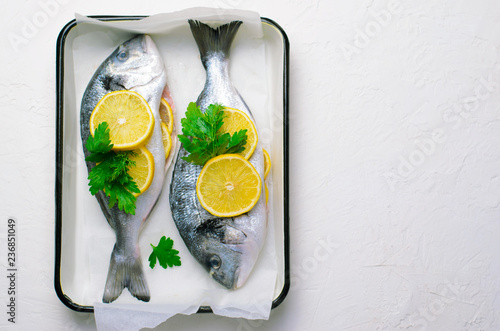 Fotografie, Obraz  Fresh Dorado or Sea Bream with Lemon and Herbs, Raw Fish Ready to be Cooked, Top