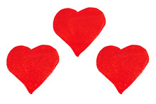 Happy Valentine's Day. Watercolor Banner With Red Hearts Isolated On White Background.