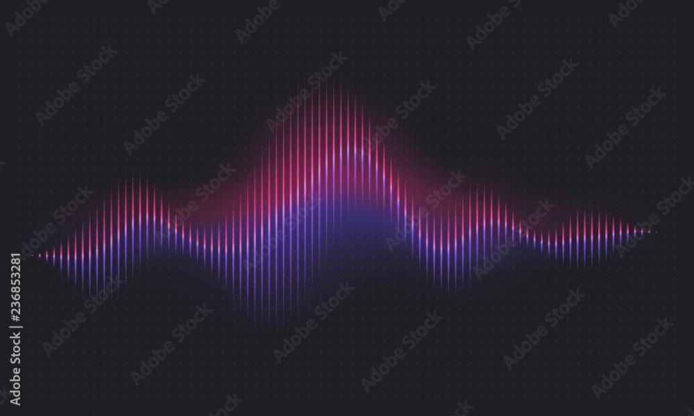 Fototapety, obrazy: Abstract sound wave. Voice digital waveform, volume voice technology vibrant wave. Music sound energy vector background. Equalizer volume, waveform electronic light illustration
