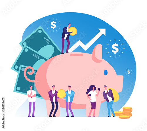 Fototapeta Piggy bank and people. Deposit money bank, wealth and cash accumulator financial vector concept. Illustration of deposit bank, money investment in banking obraz