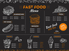 Fast Food Menu. Sketch Sandwich Burger, Pizza Snacks Vintage Design On Chalkboard. Fast Food Restaurant Menu Board Vector Template. Illustration Of Menu Fast Food, Restaurant Pizza And Hamburger