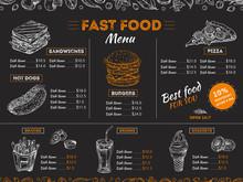 Fast Food Menu. Sketch Sandwich Burger, Pizza Snacks Vintage Design On Chalkboard. Fast Food Restaurant Menu Board Vector Template. Illustration Of Menu Fast Food, Restaurant Pizza And Hamburger