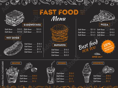 Fotografia Fast food menu