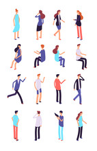 Isometric People. Cartoon Sitting And Standing Persons. 3d Men And Women In Casual Clothes. Vector Characters Set Of People Man And Woman Illustration