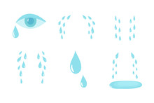 Cartoon Tears. Cry And Sweat Drops. Crying Tears, Droplets From Eyes Vector Isolated Set. Illustration Of Drop Tear And Cry Sorrow And Sadness