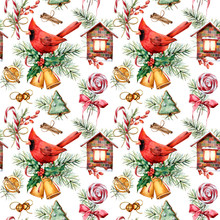 Watercolor Holiday Pattern With Cardinal And  Christmas Symbols. Hand Painted Red Bird, Bells, House, Candy Cane, Pine Branch Isolated On White Background.  Winter Illustration For Design, Fabric
