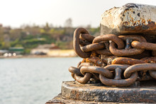 Rusty Anchor Chain Around The ...