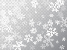 Snow Flakes Falling Macro Vector Graphics, Christmas Snowflakes Confetti Falling Scatter Backdrop. Winter Snow Shapes Decor. Windy Flakes Falling And Flying Winter Seasonal Weather Vector.