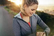 Female Runner Adjusting Her Wr...