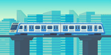 Sky Train Moving To Station In...