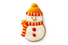 Closeup Gingerbread Christmas Snowman Wearing Yellow Scarf And Hat Cookie Isolated At White Background.