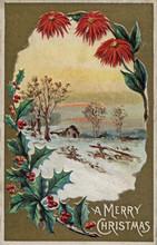Christmas Holiday Vintage Card Snow Rural 1911