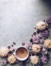 Chrysanthemum Flowers And A Cu...