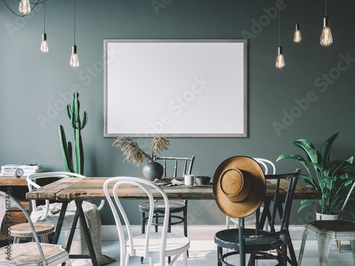 Cozy interior with empty poster frame. Frame mockup in interior.