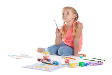 Cute Child Painting Picture On...