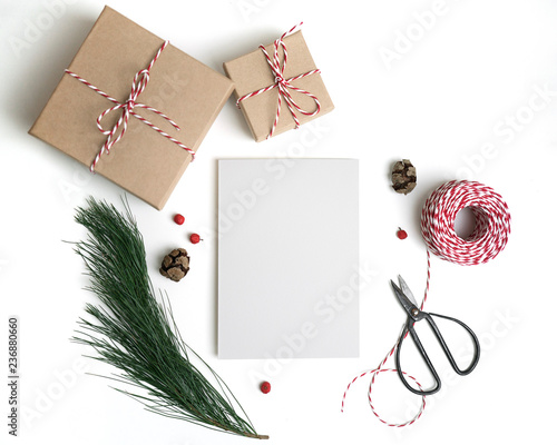 Christmas Card Mockup New Year Craft Flat Lay Top View Copy Space Paper Blank Mock Up Gift Boxes Scissors Decorations Pine Cones Isolated On White Background Buy This Stock Photo And