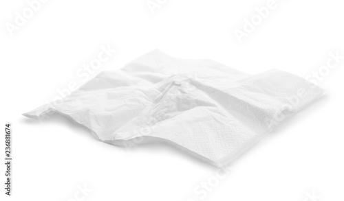Crumpled paper napkin on white background. Personal hygiene