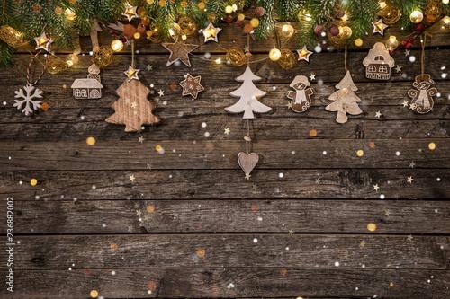 Photo  Christmas decoration on wooden background