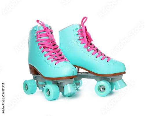 Fotografía Pair of bright stylish roller skates on white background