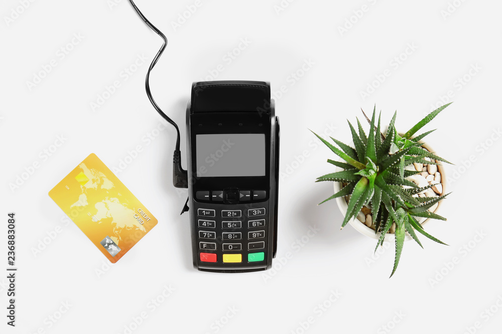 Fototapeta Modern payment terminal, plant and credit card on white background, top view