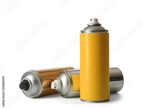 Cans of different spray paints on white background Wallpaper Mural