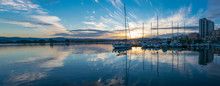 Boats Moored On The Port Of Olbia At Sunset, Sardinia, Italy
