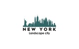 Fototapeta Nowy York - new york modern city landscape skyline logo design inspiration