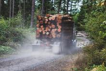 Logging Truck Hauling A Full Load Down A Dusty Dirt Road