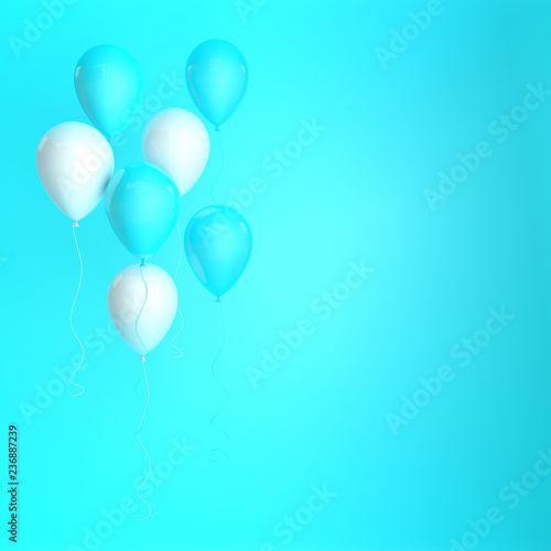 Foto op Plexiglas Groene 3d render illustration of realistic blue and white balloons on blue background. Empty space for birthday, party, promotion social media banners, posters.