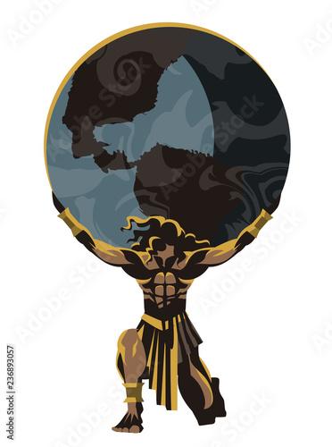 Photo  atlas holding the world