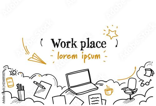 Fototapeta business work desktop laptop workplace desk concept sketch doodle horizontal isolated copy space obraz