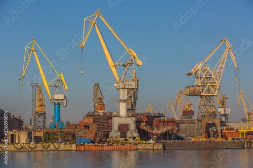 Photo Shipyard have crane machine, Shipyard industry.