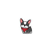 Cute Boston Terrier Dog Smiling, Vector Illustration