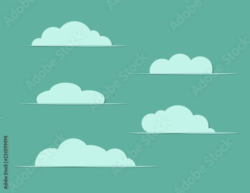 Tuinposter Hemel A set of blue clouds clip arts on dark background vector illustration