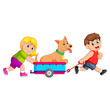 Girl and Boy pulling wagon with dog