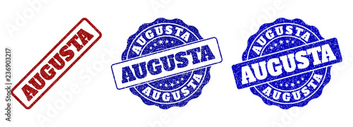 Photo AUGUSTA scratched stamp seals in red and blue colors