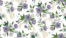 Vector Illustration Of A Seamless Floral Pattern In Winter For Wedding, Anniversary, Birthday And Party. Design For Banner, Poster, Card, Invitation And Scrapbook